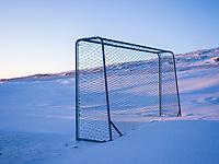Football / Soccer goal in snow. Kolstaðir, West Iceland.