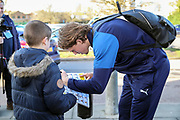 AFC Wimbledon defender Mads Bech Sorensen (26) arriving for the game and signing autograph during the EFL Sky Bet League 1 match between AFC Wimbledon and Peterborough United at the Cherry Red Records Stadium, Kingston, England on 18 January 2020.