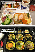 Airline Food: Economy Vs. First Class <br /> <br /> What used to be a woman's size 12 in 1968 is a woman's size 4 today; what used to be third-class is economy-class today. What changed? We've grown more sensitive: I'm not overweight, I still fit into a size 12. I'm not a third-class passenger, I'm a price conscious individual that rides in economy-class.<br /> Despite the name games, airline food hasn't changed much. Economy class meals still come in a wrapper, and business or first-class meals come with real cutlery. This list shows the sometimes striking difference between what the different classes eat.<br /> <br /> Photo shows: Japan Airlines<br /> ©Exclusivepix Media