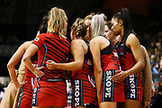 Tactix team huddle during the ANZ Premiership netball match - Magic v Tactix played at Claudelands Arena, Hamilton, New Zealand on 30 July 2018.<br /> <br /> Copyright photo: © Bruce Lim / www.photosport.nz