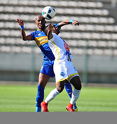 Cape Town-180318  Cape Town City defender Zukile Kewuti challenges Kaonga Chawananga of Costa dol Sol from Mozambique in the Caf Confederations game at the Cape Town Stadium .Photograph:Phando Jikelo/African News Agency/ANA