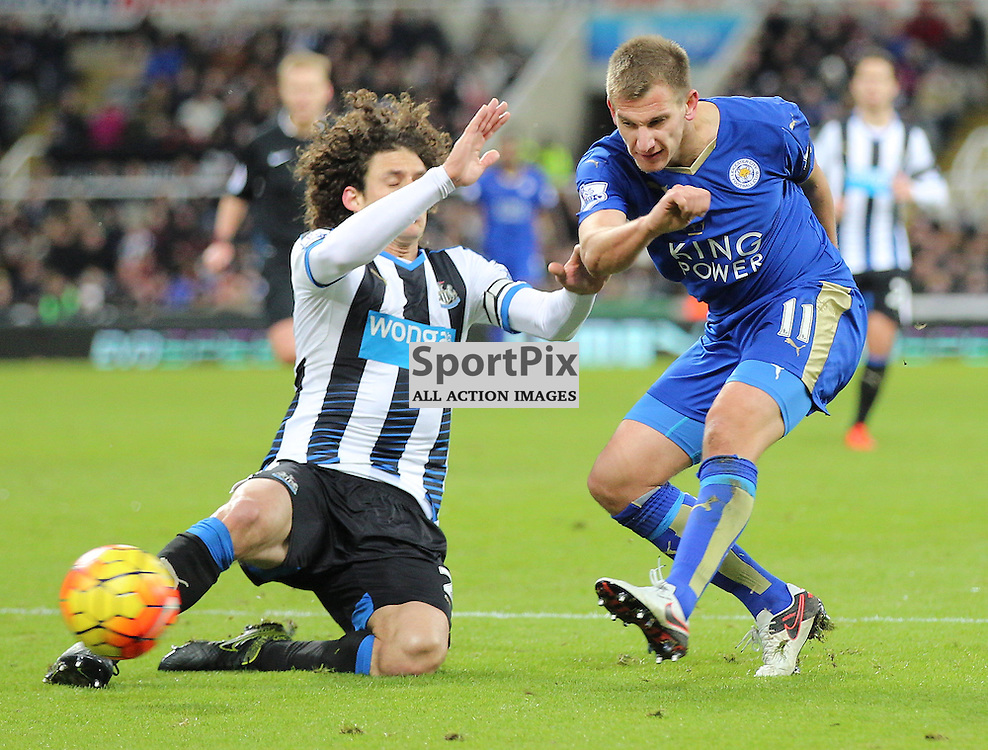 Newcastle United v Leicester City English Premiership 21 November 2015; Fabricio Coloccini (Newcastle, 2) blocks Marc Albrighton (Leicester City, 11) during the Newcastle v Leicester City English Premiership match played at St. James' Park, Newcastle; <br /> <br /> &copy; Chris McCluskie   SportPix.org.uk