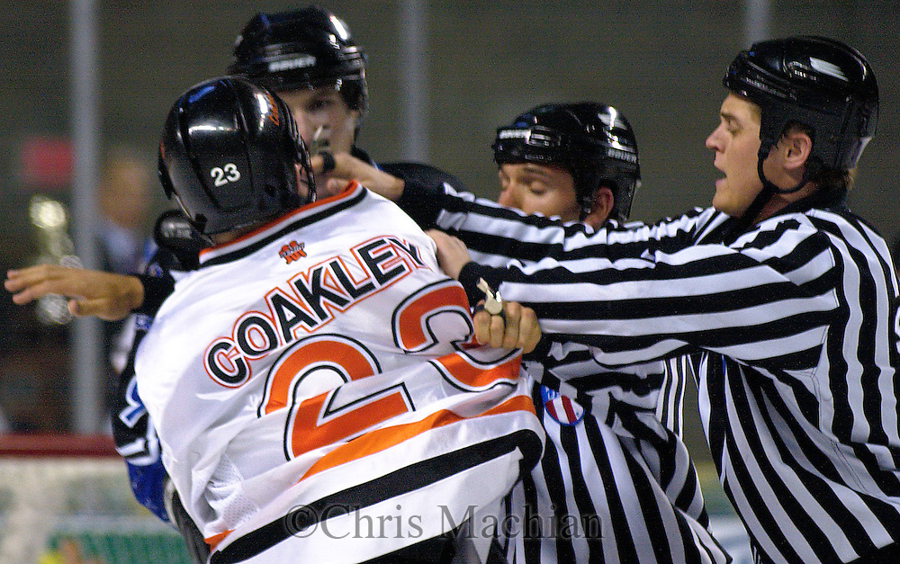- Council Bluffs, IA. 4/29/2003 River City Lancer Ryan Coakley gets into a scuffle with one of the Lincoln Stars players at the Mid America Center Tuesday evening (Chris MachianPrairie Pixel Group)