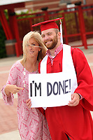 A graduate proclaims he is finished with college.