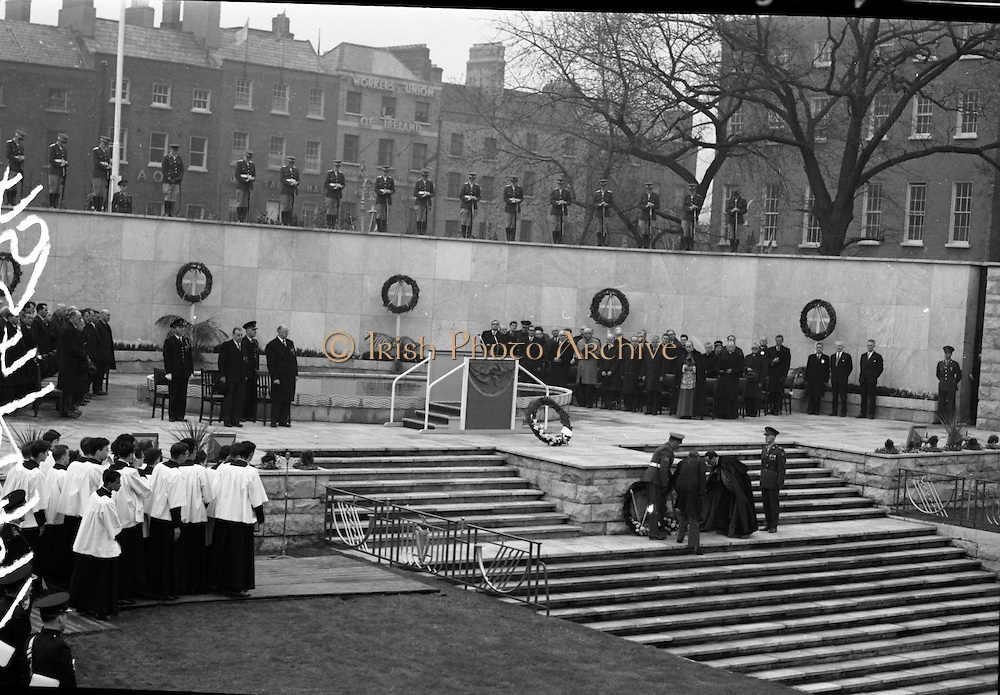 11/04/1966<br /> 04/11/1966<br /> 11 April 1966<br /> 1916 Jubilee Commemorations- Opening and Blessing Ceremony at the Garden of Remembrance, Parnell Square, Dublin. Image shows a view of the Garden and laying of wreaths. Note guard of honour standing on wall.
