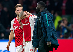 08-05-2019 NED: Semi Final Champions League AFC Ajax - Tottenham Hotspur, Amsterdam<br /> After a dramatic ending, Ajax has not been able to reach the final of the Champions League. In the final second Tottenham Hotspur scored 3-2 / Hakim Ziyech #22 of Ajax, Joel Veltman #3 of Ajax
