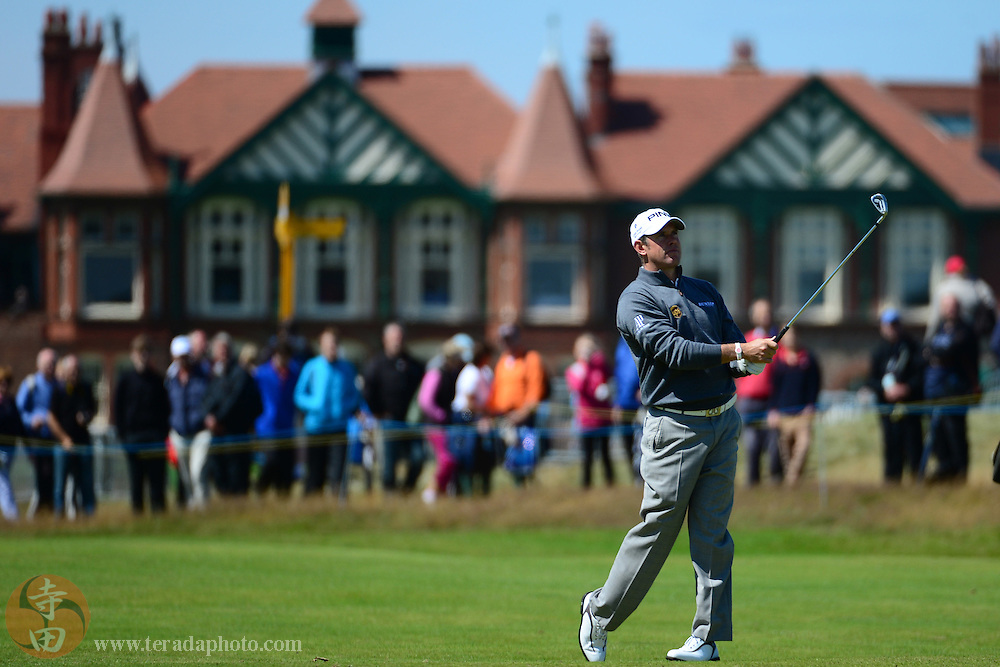 July 18, 2012; St. Annes, ENGLAND; Lee Westwood hits a fairway shot on the 2nd hole during the practice round of the 2012 British Open Championship at Royal Lytham & St. Annes Golf Club.