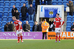 Bristol City's Simon Gillett and Bristol City's Greg Cunningham cuts a dejected figure after the game - Photo mandatory by-line: Dougie Allward/JMP - Mobile: 07966 386802 22/03/2014 - SPORT - FOOTBALL - Colchester - Colchester Community Stadium - Colchester United v Bristol City - Sky Bet League One