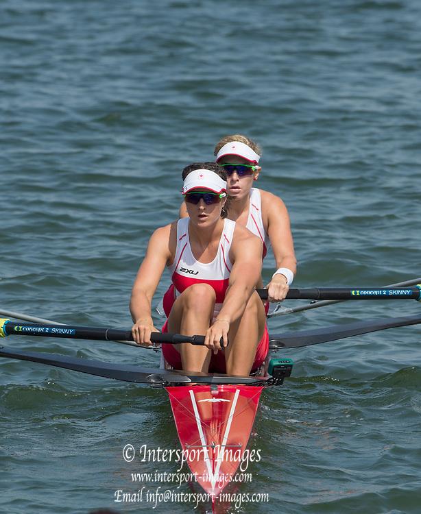 Rio de Janeiro. BRAZIL.  CAN W2-, Bow. <br />  Jennifer  MARTINS and Nicole HARE, 2016 Olympic Rowing Regatta. Lagoa Stadium,<br /> Copacabana,  &ldquo;Olympic Summer Games&rdquo;<br /> Rodrigo de Freitas Lagoon, Lagoa. Local Time 11:10:01  Tuesday  09/08/2016 <br /> [Mandatory Credit; Peter SPURRIER/Intersport Images]