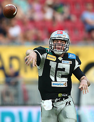 23.07.2016, Woertersee Stadion, Klagenfurt, AUT, AFL, Austrian Bowl XXXII, Swarco Raiders Tirol vs Projekt Spielberg Graz Giants, im Bild Sean Shelton (Swarco Raiders Tirol, QB, #12) // during the Austrian Football League Austrian Bowl XXXII game between Swarco Raiders Tirol vs Swarco Raiders Tyrol at the Woertersee Stadion, Klagenfurt, Austria on 2016/07/23. EXPA Pictures © 2016, PhotoCredit: EXPA/ Thomas Haumer
