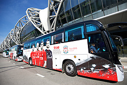 BANGKOK, THAILAND - Monday, July 13, 2015: The official team coaches for Liverpool FC at Bangkok's Suvarnabhumi Airport as the team arrive in Thailand for the start of the club's preseason tour. (Pic by David Rawcliffe/Propaganda)