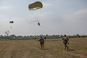 Parachuters jumps at La fiere