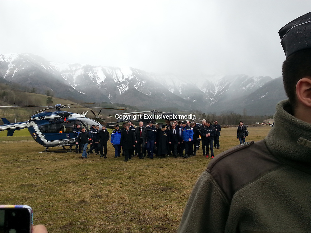 German Plane Crash<br /> Members of the French gendarmerie gather in Seyne near the site where a Germanwings Airbus A320 crashed<br /> ©Exclusivepix media