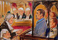 ©PRISCILLA COLEMAN  15/07/02..PIC SHOWS: BARRY GEORGE, WHO WAS CONVICTED OF THE MURDER OF TV PRESENTER JIL DANDO AT THE HIGH COURT TODAY WHERE HIS APPEAL AGAINST CONVICTION IS BEING HELD. (ON RIGHT) BARRY GEORGE IN BOX WITH THREE SECURITY GUARDS. MICHAEL MANSFIELD QC RIGHT SPEAKING TO APPEAL JUDGES-SEE STORY..ILLUSTRATION: PRISCILLA COLEMAN