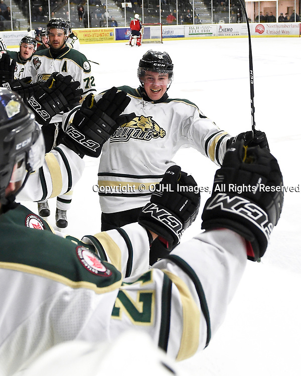 COBOURG, ON - MAR 25,  2017: Ontario Junior Hockey League, playoff game between the Cobourg Cougars and the Wellington Dukes, Connor MacEachern #9 of the Cobourg Cougars celebrates the winning goal during the third period.<br /> (Photo by Andy Corneau / OJHL Images)