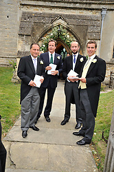 DAVID CAMERON who was an usher with fellow ushers at the wedding of Lohralee Stutz and the Hon.William Astor at St.Augustine's Church, East Hendred, Oxfordshire on 5th September 2009.