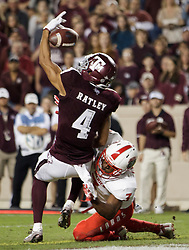 Texas A&M wide receiver Damion Ratley (4) brings in a catch for a touchdown as New Mexico cornerback Blair Manly (7) defends during the second quarter of an NCAA college football game on Saturday, Nov. 11, 2017, in College Station, Texas. (AP Photo/Sam Craft)