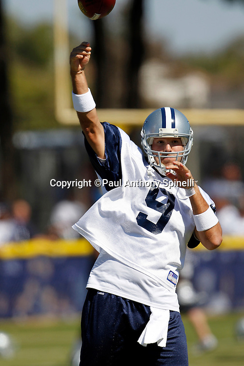 Dallas Cowboys quarterback Tony Romo (9) throws a pass during NFL football training camp on Wednesday, August 18, 2010 in Oxnard, California. (©Paul Anthony Spinelli)