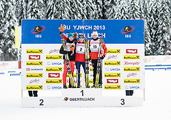 27.01.2013, Biathlonzentrum, Obertilliach AUT, IBU, Jugend und Junioren Weltmeisterschaften, Verfolgung Jugend Maenner, im Bild v.l.t.r. Zweiter Platz Rene Zahkna (EST), Gewinner Sean Doherty (USA) und Dritter Platz Fredrik Roervik (NOR) // f.l.t.r. 2nd place Rene Zahnka from Estonia, Winner Sean Doherty from United States of America and 3rd place Fredrik Roervik from Norway during the Pursuit Youth Men of IBU Youth  and Juniors World Championships at Biathloncenter, Obertilliach, Austria on 2013/01/27. EXPA Pictures © 2013, PhotoCredit: EXPA/ Michael Gruber