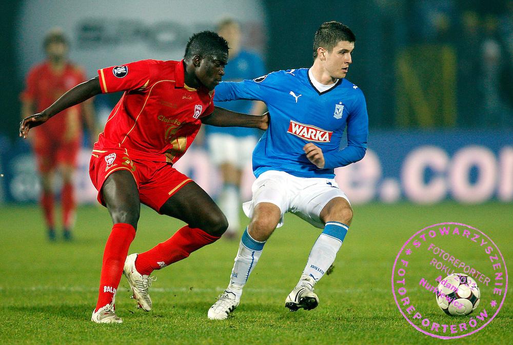 POZNAN 06/11/2008.UEFA CUP.LECH POZNAN v AS NANCY.SEMIR STILIC OF LECH POZNAN AND BENJAMIN GAVANON OF AS NANCY ..FOT. PIOTR HAWALEJ / WROFOTO
