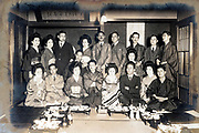 group of people with a geisha at a Ryotei Japan ca 1940s