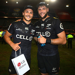 DURBAN, SOUTH AFRICA - MAY 05:  Man of the match Andre Esterhuizen with Ruan Botha of the Cell C Sharks during the Super Rugby match between Cell C Sharks and Highlanders at Jonsson Kings Park Stadium on May 05, 2018 in Durban, South Africa. (Photo by Steve Haag/Gallo Images)