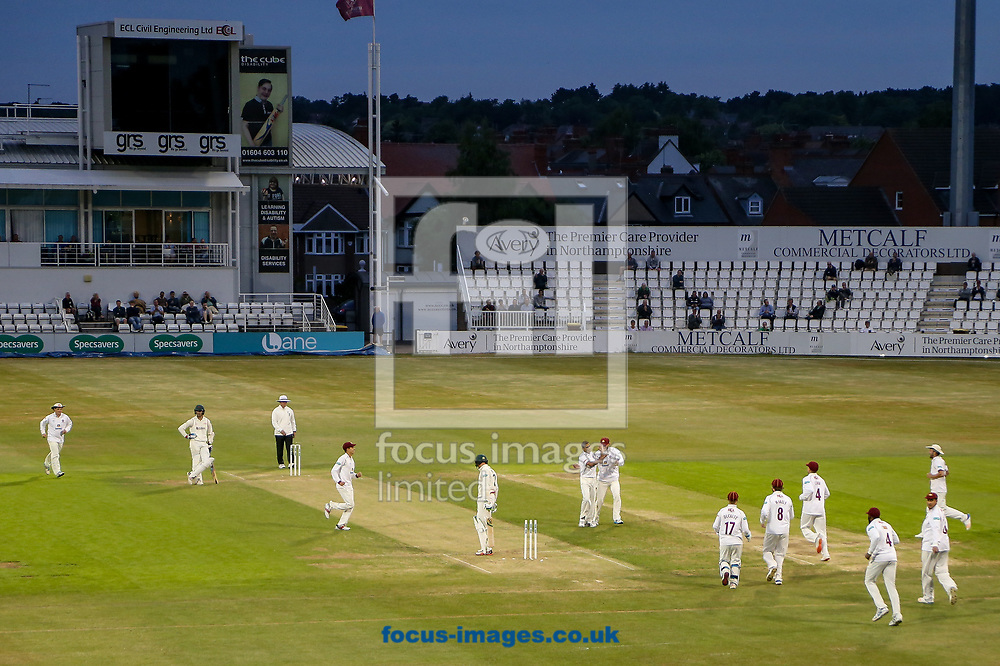Northants players celebrate a wicket during the Specsavers County C'ship Div Two match at the County Ground, Northampton<br /> Picture by Andy Kearns/Focus Images Ltd 0781 864 4264<br /> 26/06/2017