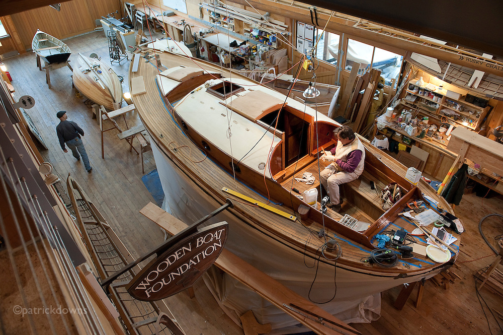 Restoring a classic Danish built sailboat at the  Wooden Boat Foundation workshop, Port Townsend WA.