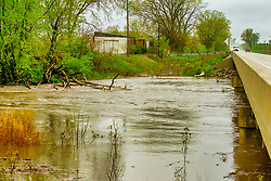 30 Apr 2019: Muddy water rolls as the Kickapoo Creek overflows its banks and into the flood plane west of Heyworth in McLean County Illinois