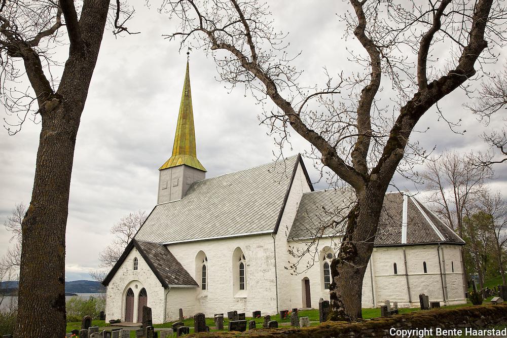 Alstadhaug kirke er en av fire fylkeskirker i det gamle Inntr&oslash;ndelag. De andre ligger p&aring; Verdal, M&aelig;re og Sakshaug.  Alstadhaug kirke skulle tjene folk i dat gamle Skeynafylket, alts&aring; Skogn, Frol, Mosvik og Ytter&oslash;y. <br /> Kirkebygget er oppf&oslash;rt av stein med takverk av tre.  Unders&oslash;kelser av t&oslash;mmeret i takverket viser at det ble felt vinteren 1166-67. Det er derfor sannsynlig at kirken sto ferdig i 1170. Hvis t&oslash;mmeret ble felt i 1166-67, m&aring; oppmuringe av selve kirken ha startet en del &aring;r tidligere, trolig allerede i 1130. Koret var den delen av kirken som ble bygd f&oslash;rst, siden dette er den eldste delen. Kirken er bygd i overgangen mellom romansk og gotisk arkitekturstil. Fra romansk arkitektur har kirken tykke vegger og vinduene er ikke veldig store. Litt fram og til venstre for altertavlen er det en liten d&oslash;r&aring;pning inn til sakristiet i kirken, hvor en alminnelig h&oslash;y mann er n&oslash;dt til &aring; b&oslash;ye seg fordi d&oslash;r&aring;pningen er s&aring; lav. Dette elementet er ogs&aring; fra romansk arkitektur. Sakristiet er den sikreste delen av kirken. Den er b&aring;de brann og innbruddssikker og ble trolig brukt til oppbevaring av kirkeb&oslash;ker eller andre viktige dokumenter. Kirka er viet til St. Peter og relikviene hans ligger i alteret.
