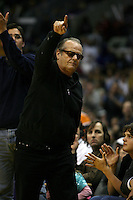 12 March 2006: Actor and Laker fan Jack Nicholson points towards the Lakers basket during the fourth period of the Seattle Sonics 120-113 victory over the Los Angeles Lakers at the STAPLES Center in Los Angeles, CA.