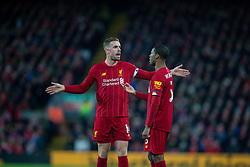 LIVERPOOL, ENGLAND - Saturday, November 30, 2019: Liverpool's captain Jordan Henderson (L) speaks with Georginio Wijnaldum during the FA Premier League match between Liverpool FC and Brighton & Hove Albion FC at Anfield. (Pic by David Rawcliffe/Propaganda)