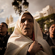 TUNISIA, Tunis : People demonstrate in front of Tunis' municipal theatre to demand an independent Justice and a clear break with former president Zine el Abidine Ben Ali's regime. Copyright Christian Minelli