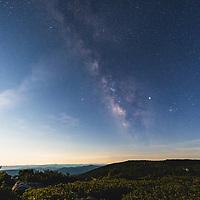 Milky Way rising high over moonlit Bear Rocks, Dolly Sods Wilderness, West Virginia