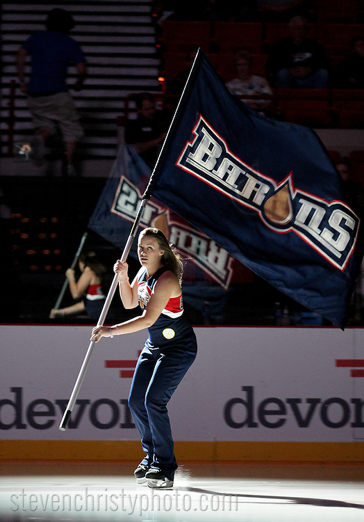 October 21, 2011: The Oklahoma City Barons play the Grand Rapids Griffins in an American Hockey League game at the Cox Convention Center in Oklahoma City.
