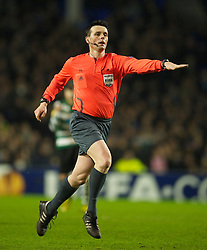 LIVERPOOL, ENGLAND - Tuesday, February 16, 2010: Referee Darko  Ceferin awards Sporting Clube de Portugal a penalty against Everton during the UEFA Europa League Round of 32 1st Leg match at Goodison Park. (Photo by: David Rawcliffe/Propaganda)