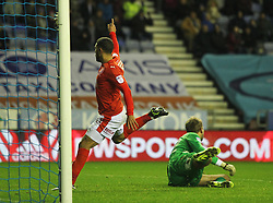 Nahki Wells of Huddersfield Town celebrates scoring his sides first goal - Mandatory by-line: Jack Phillips/JMP - 02/01/2017 - FOOTBALL - DW Stadium - Wigan, England - Wigan Athletic v Huddersfield Town - Football League Championship