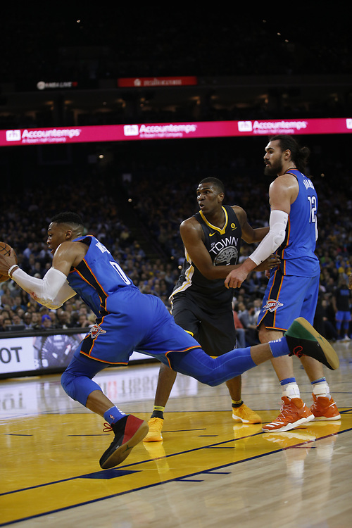 during the second half of an NBA game between the Warriors and Oklahoma City Thunder at Oracle Arena, Tuesday, Feb. 6, 2018, in Oakland, Calif. The Warriors lost 105-125.