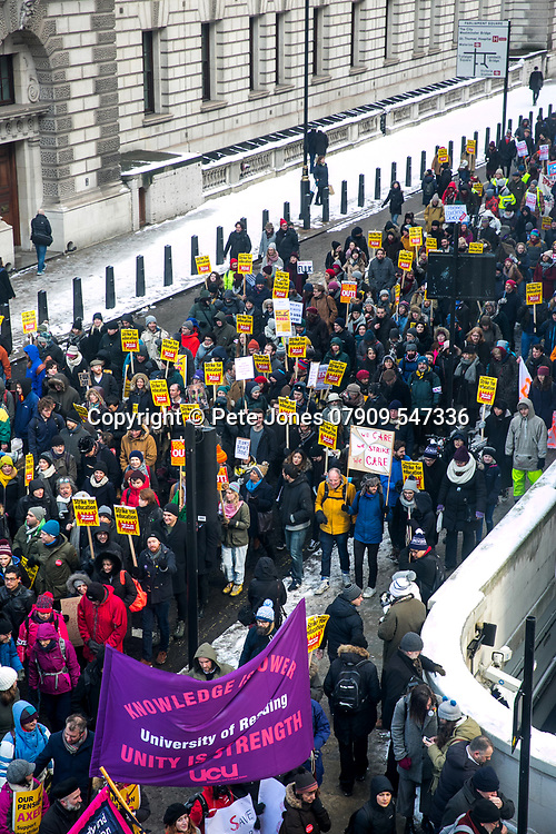 Strike for Education in Whitehall;<br /> London Views;<br /> One Birdcage Walk, SW1E 6HQ;<br /> 28th February 2018.<br /> <br /> &copy; Pete Jones<br /> pete@pjproductions.co.uk