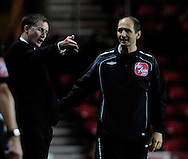 Southampton - Tuesday, September 30th, 2008: Glenn Roeder, manager of Norwich City makes his point to the fourth official during the Coca Cola Championship match at Southampton. (Pic by Daniel Hambury/Focus Images)