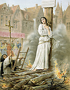 Joan of Arc (c1412-31) St Jeanne d'Arc, the Maid of Orleans, French patriot and martyr. Tried for heresy and sorcery and burnt at stake in market place at Rouen, 30 May 1431. 19th century chromolithograph.