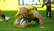 Ben Franks scores a try, Investec Super Rugby - Highlanders v Hurricanes, 15 March 2013, Forsyth Barr Stadium, Dunedin, New Zealand. Photo: New Zealand. Photo: Richard Hood/www.photosport.co.nz