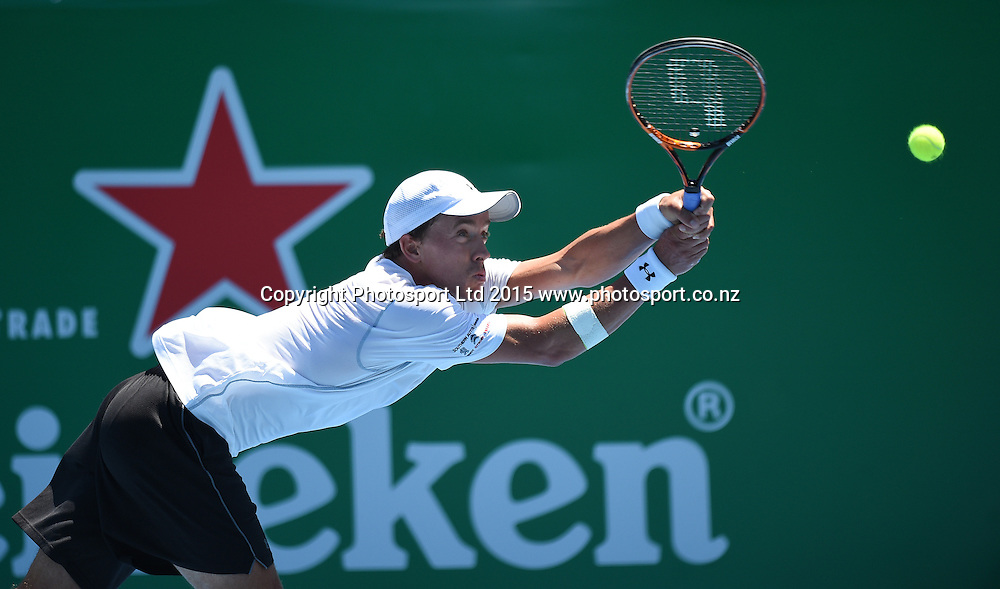 New Zealand's Rubin Staham during his first round singles match on Day 2 at the Heineken Open. Festival of Tennis, ATP World Tour. ASB Tennis Centre, Auckland, New Zealand. Tuesday 13 January 2015. Copyright photo: Andrew Cornaga/www.photosport.co.nz