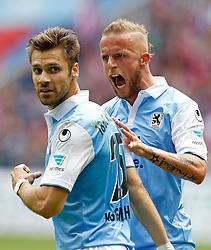 Football: Germany, 2. Bundesliga, TSV 1860 Muenchen - 1.FC Nuernberg, 17.05.2015,<br /> Daniel ADLUNG (TSV1860) celebrates with Valdet RAMA (TSV1860)<br /> <br /> © pixathlon