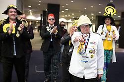 © Licensed to London News Pictures . 13/02/2014 . Manchester , UK . Monster Raving Loonies arrive , lead by candidate Captain Chaplington-Smyth (pointing) . The count for the Wythenshawe and Sale East by-election , at Manchester Central this evening . Photo credit : Joel Goodman/LNP