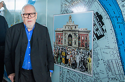 &copy; Licensed to London News Pictures. <br /> 28/1/2018. London, Great Britain.  <br /> Sir Peter Blake opens The Chiswick Timeline, a history in art and Maps<br /> 16 large historic maps and 23 works of art by leading artists showing Chiswick landmarks.<br /> The Chiswick Timeline celebrates the history of a part of London that was once a village west of the capital on the banks of the River Thames.<br /> The landmark work of art is situated under the railway bridges under Turnham Green tube station.<br /> <br /> Photo credit: Anthony Upton/LNP