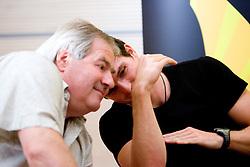 """Ivo Milovanovic in Peter Kauzer na okrogli mizi na temo """"Kolajna - kljuc do blagovne znamke?"""" v organizaciji SportForum Slovenija, 24. september 2009, Austria Trend Hotel, Ljubljana, Slovenija. (Photo by Vid Ponikvar / Sportida)"""