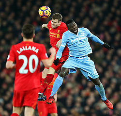 Mame Biram Diouf of Stoke City challenges James Milner of Liverpool - Mandatory by-line: Matt McNulty/JMP - 27/12/2016 - FOOTBALL - Anfield - Liverpool, England - Liverpool v Stoke City - Premier League