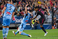 July 13 2017: Arsenal player Theo Walcott (14) has a shot at goal at the International soccer match between English Premier League giants Arsenal and A-League premiers Sydney FC at ANZ Stadium in Sydney.
