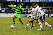 Forest Green Rovers Keanu Marsh-Brown(7) on the ball during the Vanarama National League match between Bromley FC and Forest Green Rovers at Hayes Lane, Bromley, United Kingdom on 7 January 2017. Photo by Shane Healey.